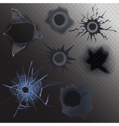 bullet hole in glass and metal set on alpha vector image