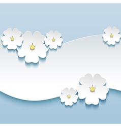 Floral background greeting card with 3d flowers vector image vector image