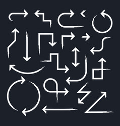Hand drawn arrow set on black vector