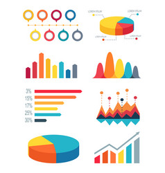 set of pie charts and bar graphs for infographic vector image