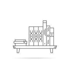 thin line black book shelf on white vector image