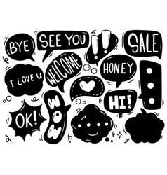0017 hand drawn background set cute speech vector