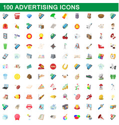 100 advertising icons set cartoon style vector image
