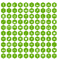 100 recreation icons hexagon green vector