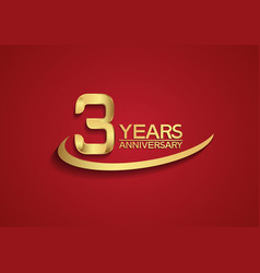 3 years anniversary logo style with swoosh golden vector
