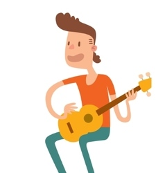 Acoustic guitar boy sitting and play flat vector
