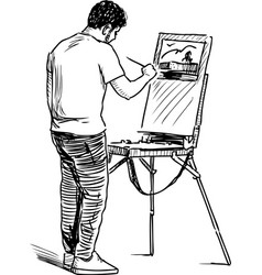 An artist painting in open air vector