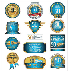 Anniversary blue and gold labels 50 years vector