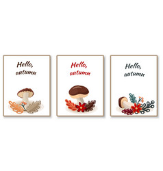 Autumn cards with stylized mushrooms and leaves vector