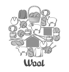 background with wool items goods for hand made vector image