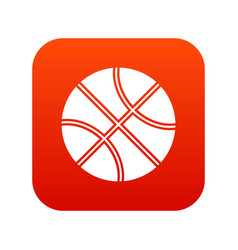 basketball ball icon digital red vector image