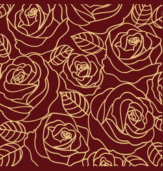 beige outline roses on the burgundy background vector image
