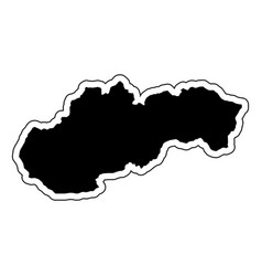 black silhouette of the country slovakia with the vector image