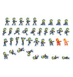 Blue robot game sprites vector