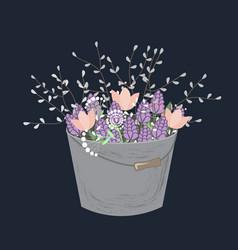 bouquet spring doodle flowers in grey bucket vector image