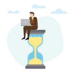 businessman with laptop sitting on big hourglass vector image
