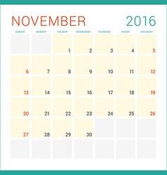 Calendar 2016 Flat Design Template November Week vector