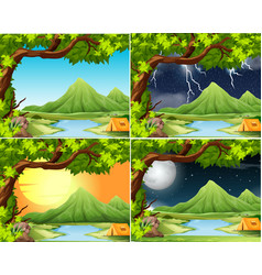 camping in different weather scene vector image
