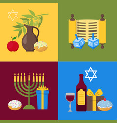 Cartoon hanukkah banner card set vector