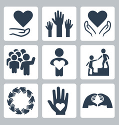 charity and volunteer icon set vector image