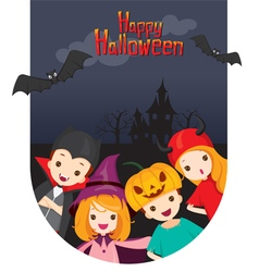 Children on Castle Background vector image