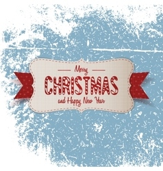 Christmas big paper Emblem with red Ribbon vector image