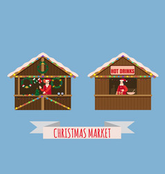 christmas market stalls canopy seller with with vector image
