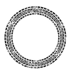 circle grunge tire track vector image