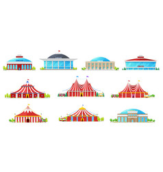Circus buildings carnival tent chapiteau marquee vector