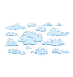 collection fluffy clouds different shapes vector image