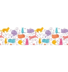 Colorful Cats Horizontal Seamless Pattern vector