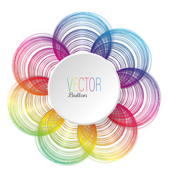 colorful flower line art with a button vector image