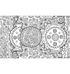 coloring book page with abstract cosmic art vector image