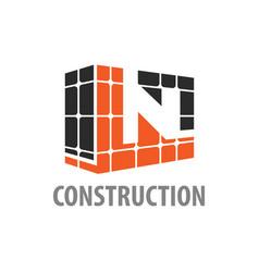 construction block initial letter n logo concept vector image