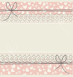 cute lace frame with decorative hearts vector image