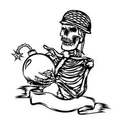 Dead skull use helmet and hold bomb vector