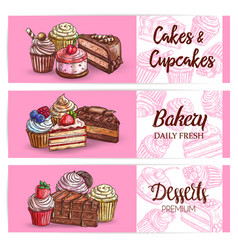 desserts and sweet cakes sketch banners vector image