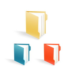 different color office folders collection vector image