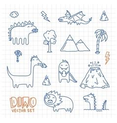 Dino ink doodles cartoon set vector