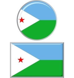 Djibouti round and square icon flag vector