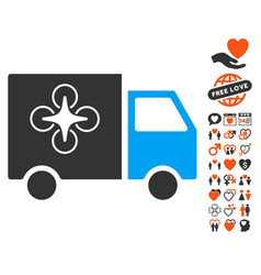 drone delivery van icon with valentine bonus vector image