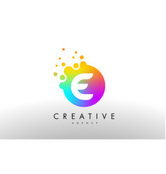E rainbow dots letter logo letter design with vector