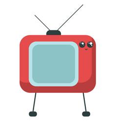 Emoji smiling vintage red tv or color vector