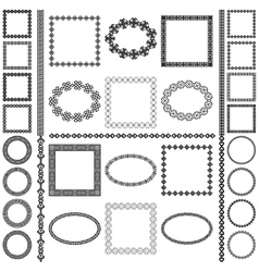 Ethnic borders set Round and square frames vector