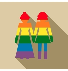 Female couple in rainbow colors icon flat style vector