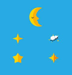 Flat icon midnight set of moon star asterisk and vector