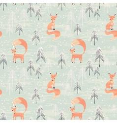 Fox in winter pine forest vector