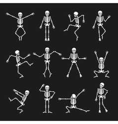 Funny dancing skeleton set vector