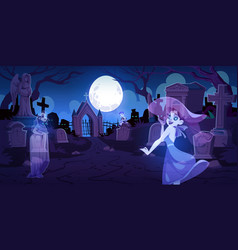 ghosts on old cemetery with graves at night vector image