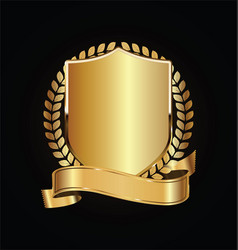 Gold and black shield with laurels 13 vector